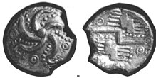An Iron Age Silver quarter stater Durotriges Celtic Coin Index reference, 86.0105 (FindID 315558).jpg