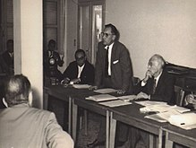 Ancel Keys - Paul Dudley White - Flaminio Fidanza - press conference in Gioia Tauro -1960.JPG