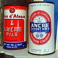 Ancre Beer cans at the Musée Européen de la Bière.JPG