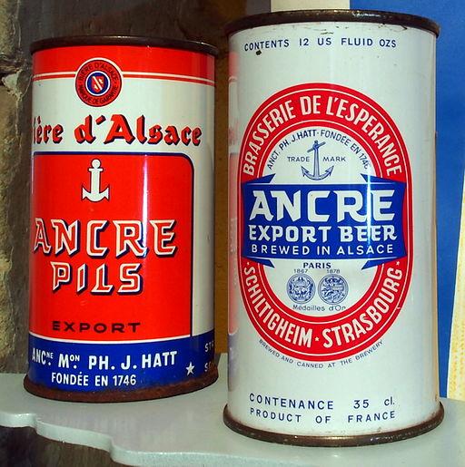 Ancre Beer cans at the Musée Européen de la Bière