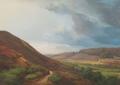 Anders Andersen-Lundby - Bakket landskab med gående mand på sti - 1870.png