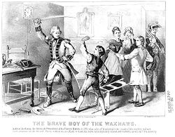 Jackson refusing to clean a British officer's boots (1876 lithography)