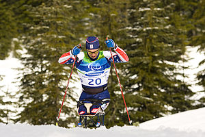 Paralympic sports - Biathlon: Andy Soule from the United States, at the 2010 Paralympics in Vancouver.