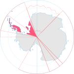 Antarctic portion between meridians 25º West and 74º West