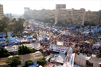August 2013 Rabaa massacre - The area around the Rabaa al-Adaweya mosque has been packed with Muslim Brotherhood supporters sleeping in tents for over a month before the sit-in was cleared.