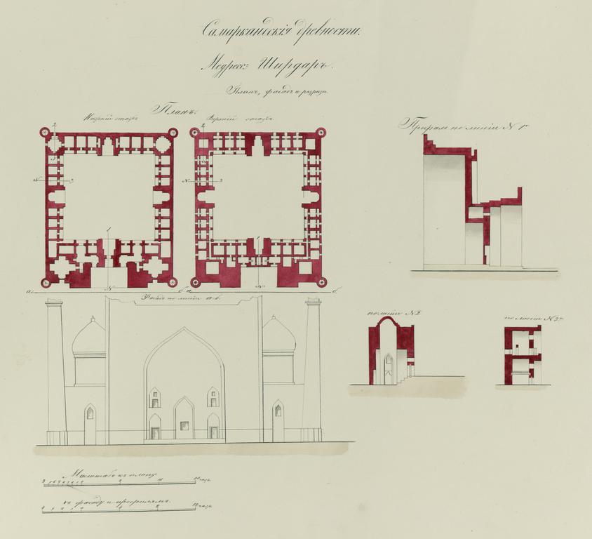 Elevation Plan Description : File antiquities of samarkand shir dar madrasah plan
