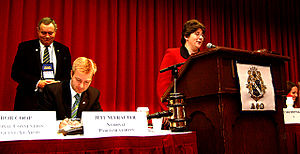 Alpha Phi Omega - Alpha Phi Omega's first female national president, Maggie Katz, addressing the delegates of the 39th biennial national convention in Louisville, Kentucky, immediately following her election.