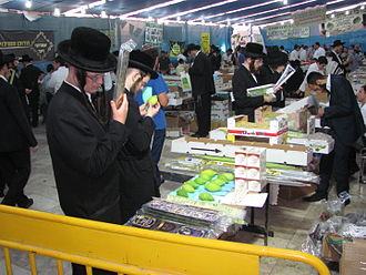 Four species - Customers inspect the four species for sale in Jerusalem, 2014