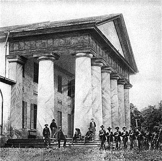 George Washington Custis Lee - Arlington House during the American Civil War, with Union troops surrounding it.