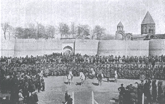 Hamazasp Srvandztyan - Armenian 3rd battalion cavalry and troops commanded by Hamazasp rallying at Etchmiadzin in 1914