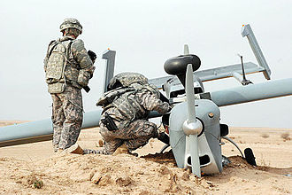 Combat Aviation Brigade, 10th Mountain Division - Soldiers of the brigade inspect a downed UAV.