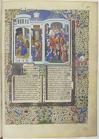 Le Livre de l'Espérance - Melancholy arrives and attacks the author. The harangue of the three monsters. Understanding (Entendement) surrounded by the Three Virtues. Illuminated manuscript of a mid-15th century edition of Livre de l'Espérance.