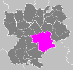 Location of Grenoble in Rhône-Alpes