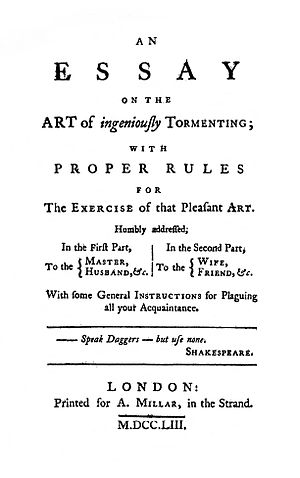 An Essay on the Art of Ingeniously Tormenting - Title page