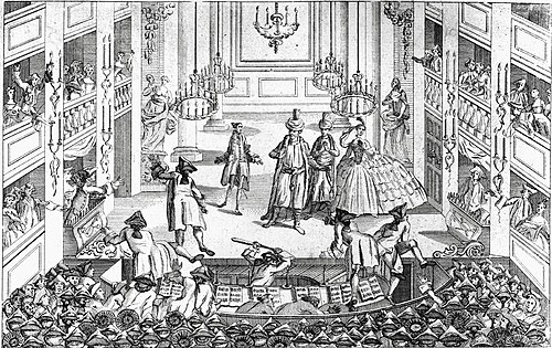 Riot over the abolition of half price admission fees at the Theatre Royal, Covent Garden during a 1763 performance of Artaxerxes. Artaxerxes riots.jpg