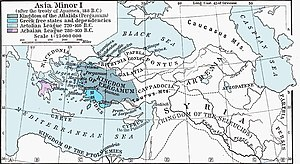 Bergama - The Kingdom of Pergamon (colored olive) shown at its greatest extent in 188 BC.