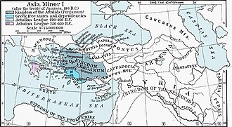 Pergamon - The Kingdom of Pergamon (colored olive), shown at its greatest extent in 188 BC