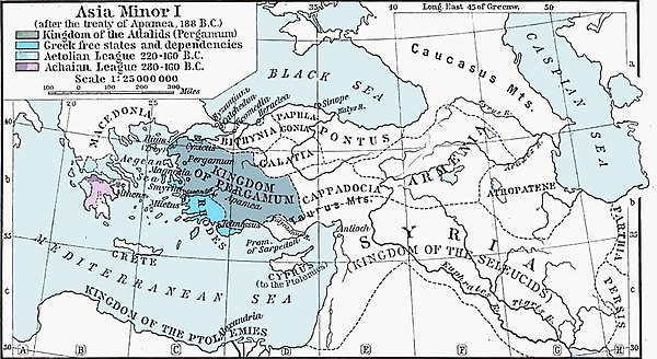The reduced empire (titled: Syria, Kingdom of the Seleucids) and the expanded states of Pergamum and Rhodes, after the defeat of Antiochus III by Rome. Circa 188 BC. Asia Minor 188 BCE.jpg