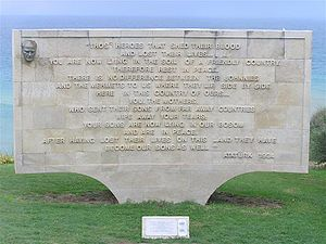 Australia–Turkey relations - Memorial of ANZAC Cove; commemorating the loss of thousands of Turkish and Anzac soldiers in Gallipoli