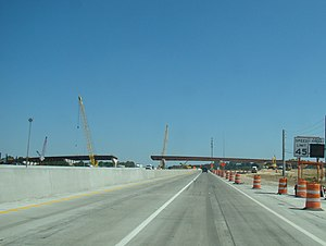 Interstate 20 in Georgia - I-20 eastbound at the I-520 interchange. Flyover ramp under construction for I-20 westbound to I-520 eastbound