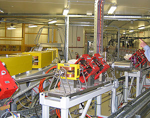 Australian Synchrotron - Inside the booster ring shielding, the linac is visible at image right extending from the electron gun at the far wall, and joining into the booster ring seen at the left