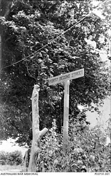 Australian sign at Forty Second Street on Crete 1941 (AWM P03731 001).jpg