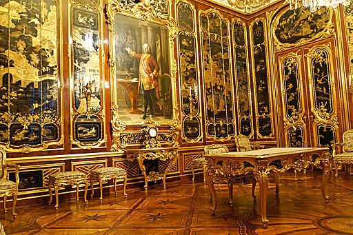 Vieux-Laque-Zimmer in Schloss Schönbrunn, UNESCO-Weltkulturerbe in Wien (Österreich). Austria