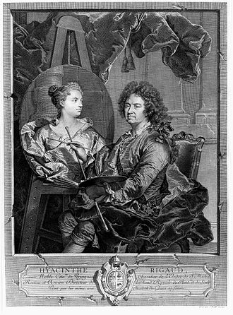 Jean Daullé - Hyacinthe Rigaud painting his wife, after an autoportrait by Rigaud, 1742