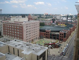 Downtown Memphis, Tennessee - View from the Peabody Hotel, looking east over Autozone Park toward the Medical District.