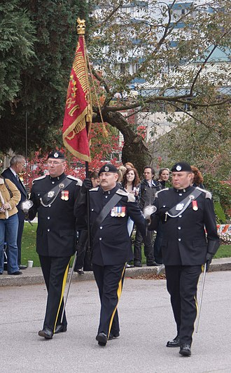 The British Columbia Regiment (Duke of Connaught's Own) - Sergeants of the British Columbia Regiment (Duke of Connaught's Own) carry in the unit's guidon during the unit's 125th anniversary parade and Freedom of the City reaffirmation at Vancouver City Hall, October 11, 2008.
