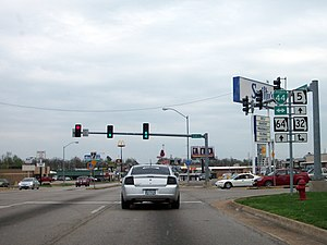 Missouri Route 32 - Route 32 leaves Interstate 44 Business and joins Route 5/Route 64 in Lebanon.