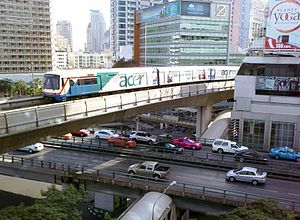 BTS Skytrain over Sala Daeng Intersection