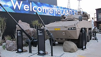Patria AMV - A South African Badger tank destroyer variant along with a 30mm x 173 cannon and a 60mm mortar that can be mounted in a modular combat turret.