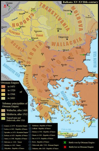 Central and Southeastern Europe (including the Balkan peninsula) from the 15th to the 18th century Balkans XV-XVIIth century.png