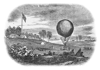 Union Army Balloon Corps - Woodblock sketch of Lowe's balloon with McClellan's Army of the Potomac as depicted in Harper's Weekly.