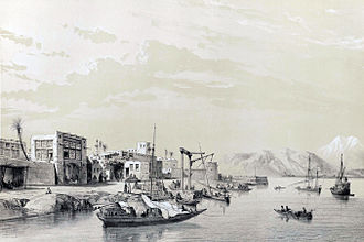 Bushehr - Bandar Bushehr, drawing by Eugène Flandin, 1840.