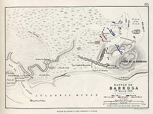 Battle of Barrosa - Map of the battle, from Alison's History of Europe