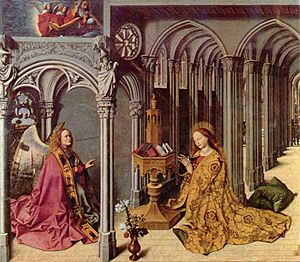 Barthélemy d'Eyck - Central panel of the Aix Annunciation, c. 1443–45.