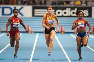 2014 IAAF World Indoor Championships – Women's 60 metres - From L to R: Tianna Bartoletta, Dafne Schippers and Ezinne Okparaebo racing in the second semifinal.