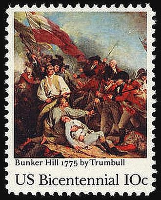 Andrew McClary - McClary (near center, standing, with white shirt) along with the mortally wounded Warren are among the central figures depicted  on a U.S. commemorative postage stamp, issued on the bicentennial anniversary of the Battle of Bunker Hill in 1975