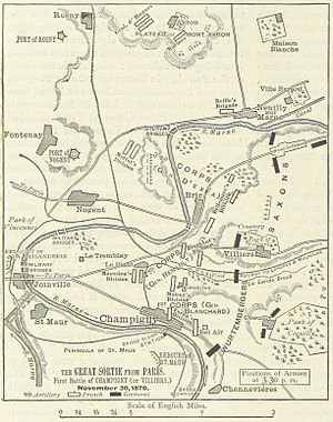 Battle of Villiers - A map of the positions of the forces at 3:30 pm on 30 November
