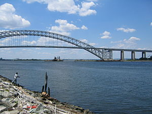 bayonne bridge as seen from staten island