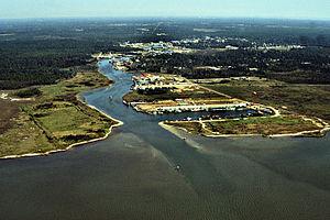 Bayou La Batre, Alabama - Aerial view of Bayou La Batre from the harbor entrance on the Gulf of Mexico.