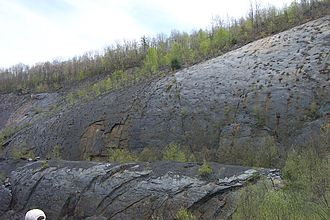 "Geology of Pennsylvania - Bear Valley Strip Mine, located southwest of Shamokin, Pennsylvania, in the Anthracite Upland. The feature in the foreground is known as ""the Whaleback""."