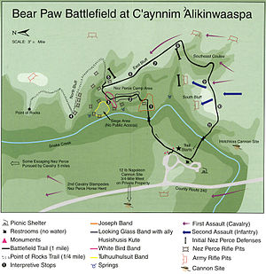 Battle of Bear Paw - Map of Bear Paw Battlefield, part of Nez Perce National Historical Park