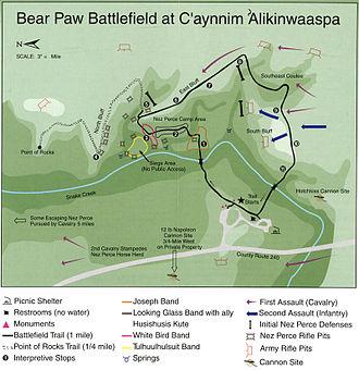 Battle of Bear Paw - Map of Bear Paw Battlefield, part of Nez Perce National Historical Park
