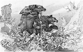 "Interstate Commerce Commission - A Puck magazine cartoon from 1907 depicting two large bears named ""Interstate Commerce Commission"" and ""Federal Courts"" attacking Wall Street."