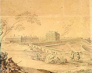 Château de Bellevue - The Château de Bellevue from the South. 18th drawing by Jacques André Portail.