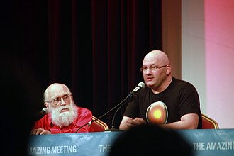 Benjamin Radford - Ben Radford with James Randi in a panel discussion at The Amaz!ng Meeting 2012