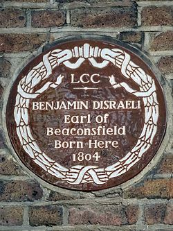 Benjamin disraeli earl of beaconsfield born here 1804